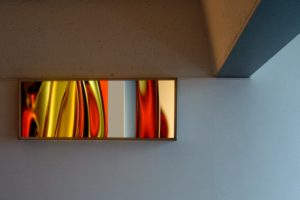 light and colour, stainless steel light box with laserchrome slide, private collection, zurich, switzerland, 2005