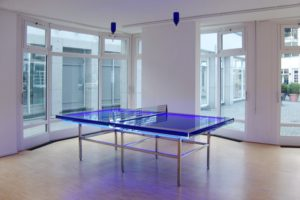 the very best…, blue neon plexiglas polished stainless steel water blue silicon oil, gallery benden & klimczak, cologne, germany, 2008