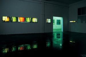 light and colour, 7 stainless steel light boxes with laserchrome slide, 2001