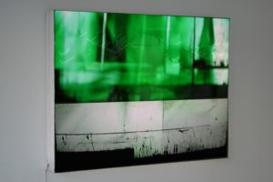 tv-shot, slide light box sewn from foil, 2003