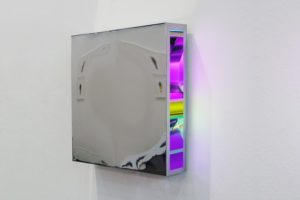 colour code, chrome light box slide on plexiglas led light, art vienna, gallery klaus benden, 2010