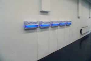light in plastic (edition 6), 5 light boxes sewn from foil, kunstverein ravensburg, germany, 2004