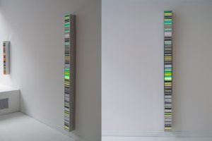 colour code, polished stainless steel light box with laserchrome slide, gallery bernd a. lausberg, toronto, 2008