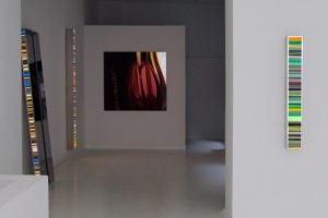 colour code, polished stainless steel light boxes with laserchrome slide, gallery bernd a. lausberg, toronto, 2008
