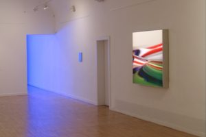 organic colour, olished stainless steel light box with laserchrome slide, gallery viltin, budapest, hungary, 2011