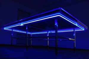 the very best……. , blue neon plexiglas polished stainless steel water blue silicon oil, neue kunstverein aschaffenburg, germany, best before…. 2007