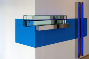 edge, polished stainless steel water blue silicon oil colour change neon mirror wall paint, gallery benden & klimczak, cologne, germany, 2008