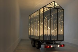 almost, metal mirror plexiglas trailer led's, gallery klaus benden, cologne, 2012