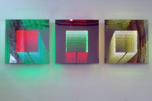 tunnel view square, plexiglas metal mirror led light with colour change, 2011