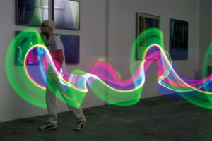 light in motion, fluorescent lamp (time exposure), 2001
