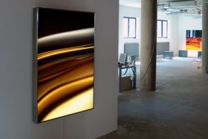transmutation, stainless steel light box with laserchrome slide, licht am main, luminale, frankfurt, germany, 2006