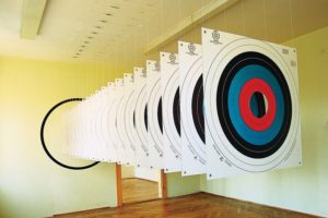 target, paper targets plexiglas wall paint, old tax office rosenheim, germany, 1997