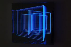 windows, metal mirror plexiglas led's colour change, gallery klaus benden, cologne, 2012