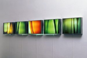 light and colour, 5 stainless steel light boxes with laserchrome slide, 2001