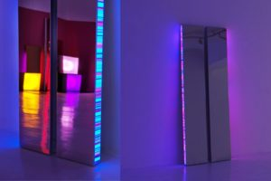 twins, chrome light boxes slide on plexiglas led light with colour change, studio d'arte contemporanea pino casagrande, rom, italy, 2011