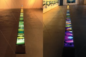 light and colour, stainless steel light boxes laserchrome slide, pasinger fabrik, munich, germany, 2001