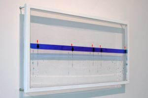 sensitive balance, plexiglas metal fishing bobbers water blue silicon oil, kaiser friedrich, germany, 2003