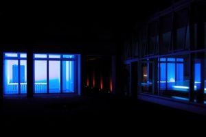 blue bed, fluorescent lamps and metal, kaiser friedrich, berlin, germany, 2003