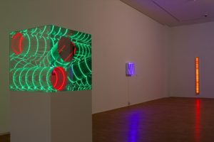 triple tube, size 170 cm x 70 cm x 70 cm, plexiglas mirror led colour change wood, osthaus museum, hagen, 2013