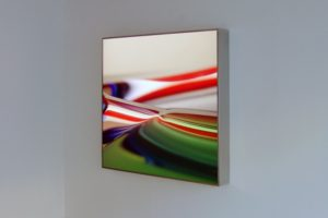 organic colour, polished stainless steel light box with laserchrome slide, patrick heide contemporary, london, 2008