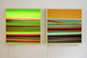 lines, aluminium light boxes led colour change with slide, patrick heide contemporary art, london, 2009