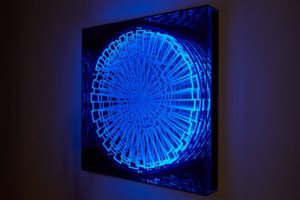 black light, metal wood plexiglas uv light, samuelis baumgarte gallery, bielefeld, 2016