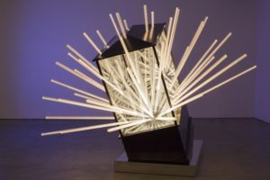 big bang....interruption, metall holz spiegel plexiglas led, de buck gallery, new york, 2014