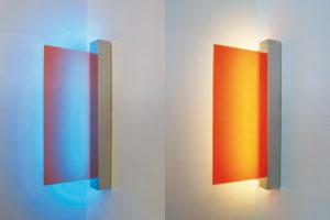 edge, polished stainless steel light box colour change wall paint, gallery klaus benden, cologne, germany, 2009