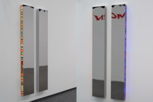 twins, chrome light boxes slide on plexiglas led light with colour change, art cologne, gallery klaus benden, cologne, germany, 2010
