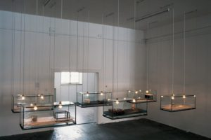 still lifes, 6 glass cases metal resin plexiglas finds wood, galerie benden & klimczak, cologne, germany 1999