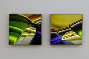 macro landscape, stainless steel light box with laserchrome slide, 2004