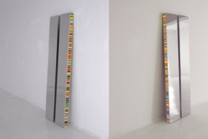 twins, chrome light boxes slide on plexiglas led light with colour change, borusan art collection, istanbul, 2012