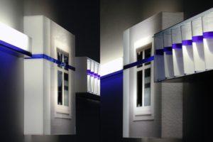 sensitive balance (detailansicht), plexiglas dia glas wasser silikonöl blau metall, kaiser friedrich, 2003