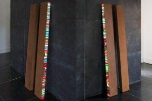 colour code,  leuchtkästen aus cortenstahl dia auf plexiglas und led-licht farbwechsel, 2010