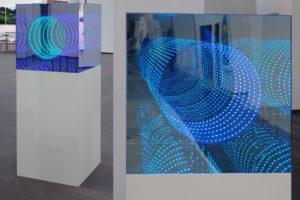 tube, plexiglas led-licht farbwechsel spiegel holz, galerie klaus benden, art cologne, köln, 2011