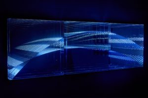 "beyond light ""wave"", metall spiegel plexiglas led light dmx-steuerung, samuelis baumgarte galerie, bielefeld, 2016"