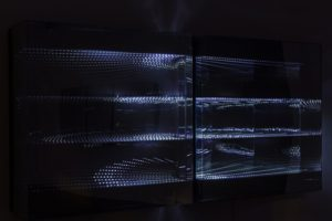 "beyond light ""lines"", metall spiegel plexiglas led licht, bildrecht, wien, 2015"
