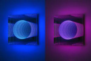tunnel view, plexiglas led-licht farbwechsel spiegel, galerie grazia blumberg, recklinghausen, 2010