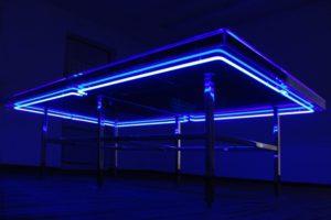 the very best....... , blaues neon plexiglas edelstahl poliert silikonöl blau wasser, neue kunstverein aschaffenburg, best before.... 2007