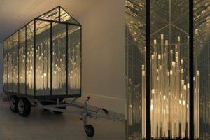 almost, metall spiegel plexiglas trailer led's, galerie klaus benden, köln, 2012