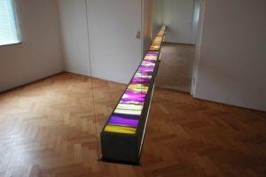light and colour, edelstahl leuchtkasten mit laserchrome grossdiapositiv, oberbayerische kulturtage, altötting, 2001