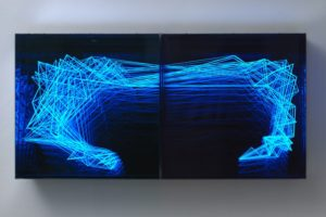 fractal structure, metall spiegel plexiglas led farbwechsel, galerie klaus benden, köln, 2012