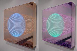 tunnel view, plexiglas metall spiegel led-licht farbwechsel spiegel, preview berlin, galerie michaela stock, 2010