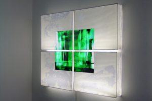 tv-shot, dia leuchtkästen genäht aus folie, backfabrik berlin, patrick heide contemporary, 2003