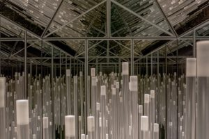 almost, metall spiegel plexiglas trailer led's, osthaus museum, hagen, 2013