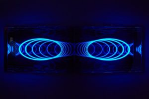 u-turn, plexigals mirror led colour change, kinetica art fair london, patrick heide contemporary art, 2012