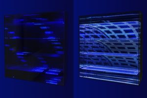 beyond light 'raster', metall spiegel plexiglas led licht dmx-steuerung, 2016