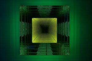 tunnel view square, plexiglas spiegel metall led-licht farbwechsel, 2011